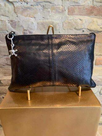 Giuseppe Zanotti snake skin clutch with lock detail-1