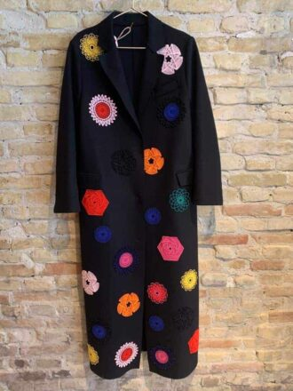Long coat in wool with color design made by an arabic designer