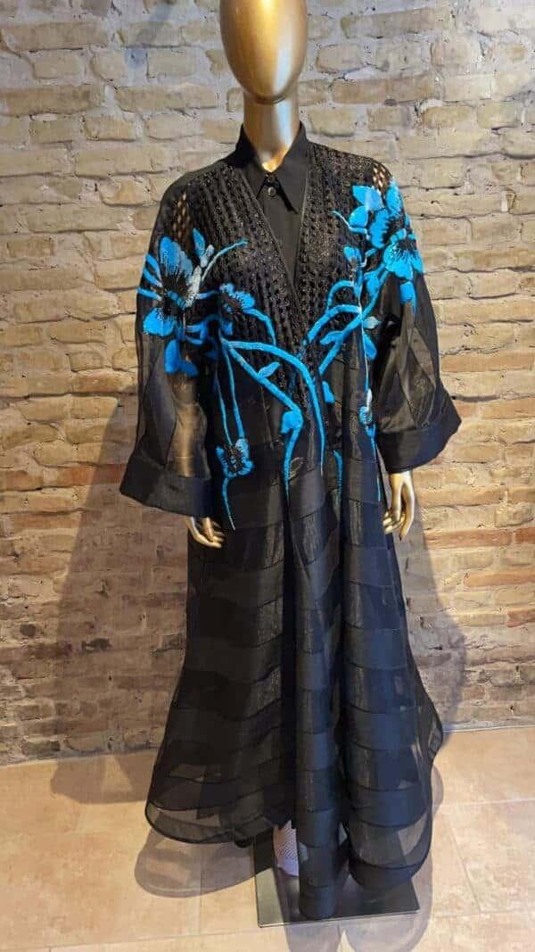 Long organza kaftan with sequin detail