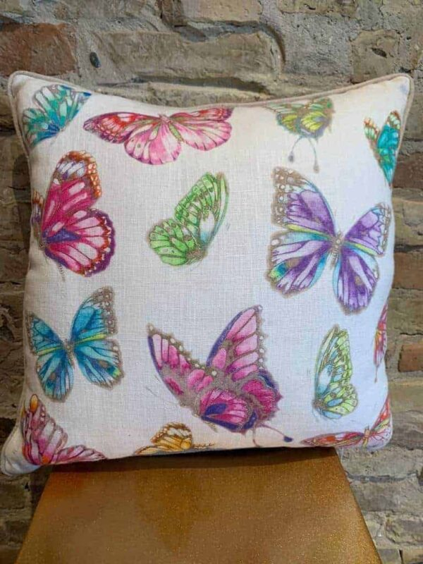 Printed butterfly cushion in linen