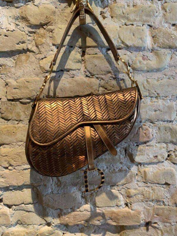 Vintage Dior saddel bag in antique gold leather-1