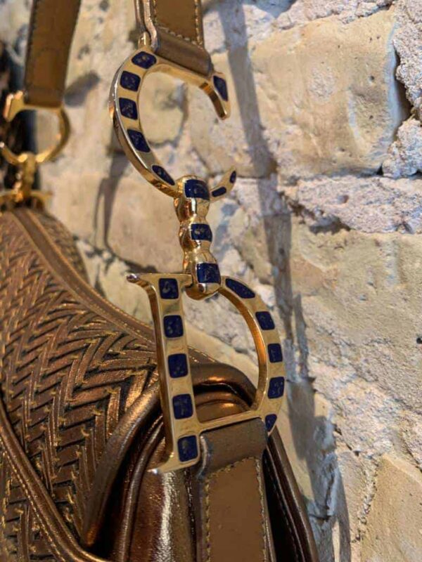 Vintage Dior saddel bag in antique gold leather-4