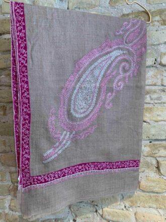 Cashmere hand embroderi scarves - Purple & Beige