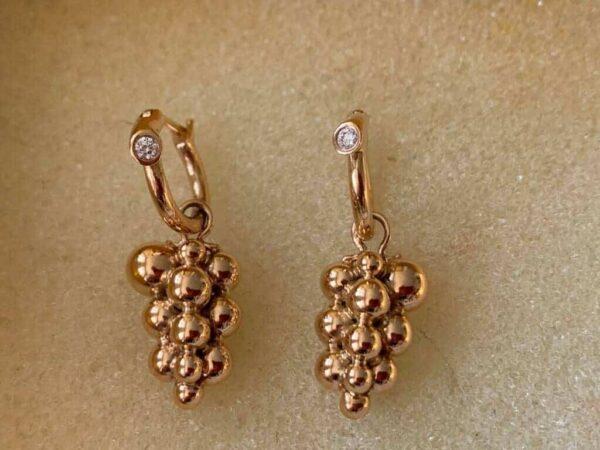 Georg Jensen grape earrings in rose gold and diamonds