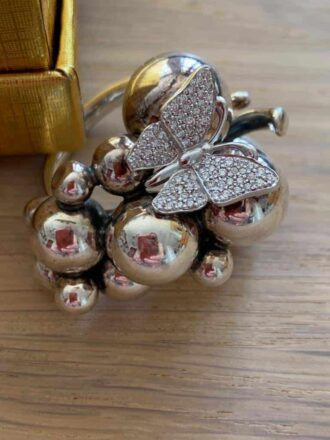 Georg Jensen grape ring in silver and butterfly diamonds