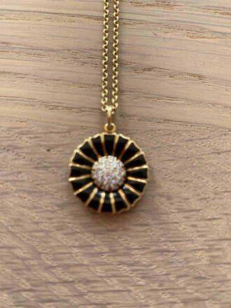 George Jensen Daisy necklace in black enamel and diamonds