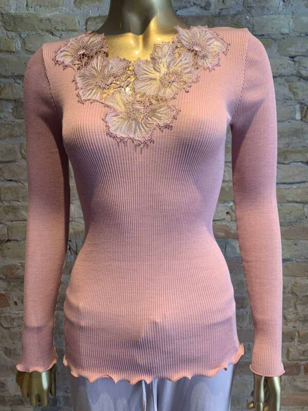 Oscalito t-shirt with lace detail in rosewood color - buy online - rock vintage
