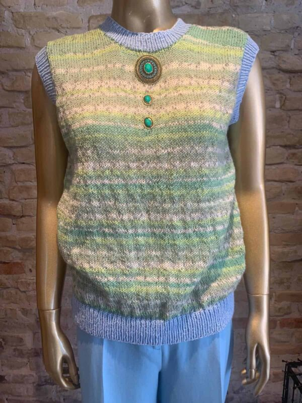 Rock vintage Hand-knitted west with details - green