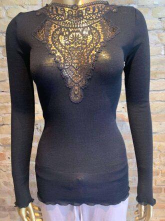Zimmerli long sleeve top in black - rock vintage