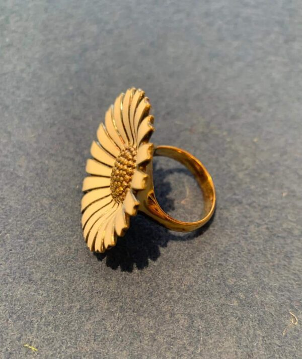 Georg Jensen large Daisy ring in gold plated silver