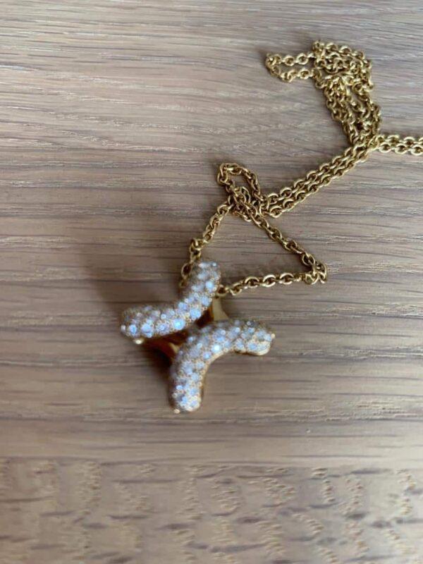 Hermes diamond H yellow gold 18 ct pendent necklace 1.20 ct round diamonds