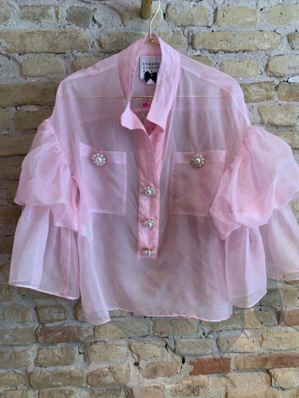 Edward Achour pink chiffon blouse