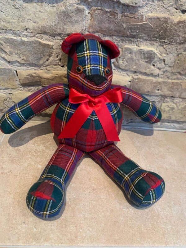 Hand made Teddy bear in red tartan