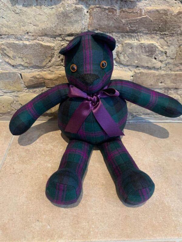 Handmade Teddy bear in green tartan