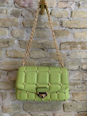 Michael kors green leather shoulder bag with gold studs