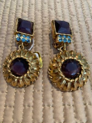 Poggi earrings with brown and turquoise stones