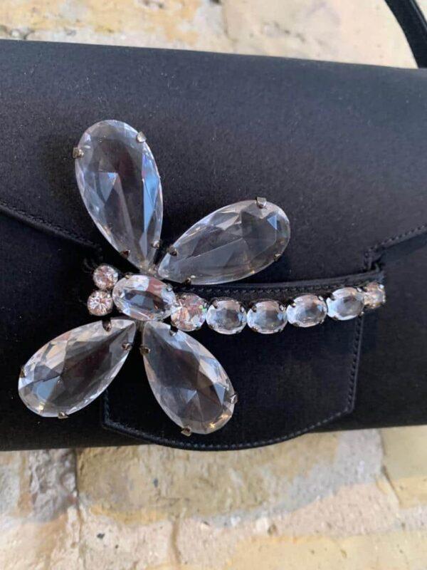 Renaurd Pellegrino black satin evening bag with crystal detail on the lock