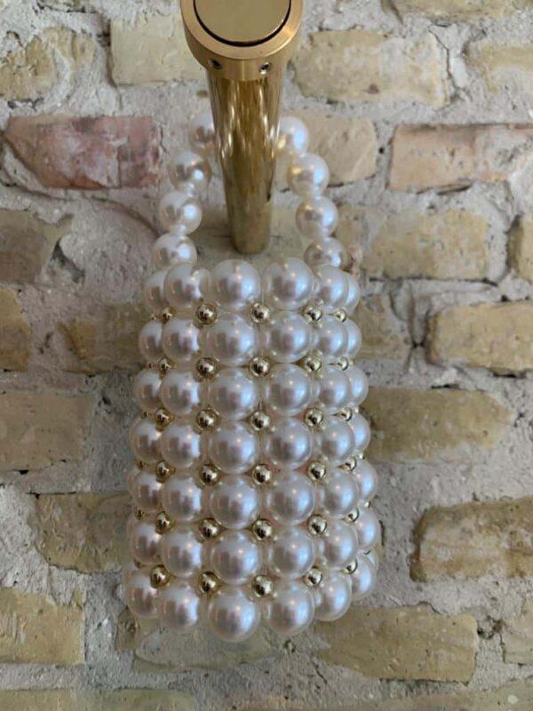 Rock Vintage white pearl evening bag